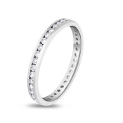 0.80 CT Natural Round Diamond Channel Set Eternity Band in Solid Platinum