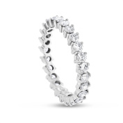 1.43 CT Natural Round Diamond Eternity Band in Solid 18k White Gold