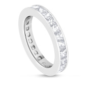 3.04 CT Natural Princess Cut Diamond Channel Set Eternity Band in Solid 14k White Gold