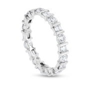 1.54 CT Alternating Natural Round & Baguette Diamond Eternity Band in Solid 18k White Gold
