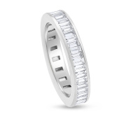 2.15 CT Natural Baguette Diamond Eternity Band in Solid 14k White Gold