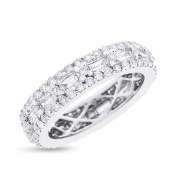 1.67 CT Natural Diamond Round & Baguette Eternity Band in Solid 18k White Gold