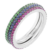 Ruby, Sapphire and Tsavorite Stackable Eternity Rings in 18K Gold