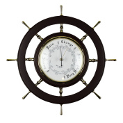 Large Nautical Wooden Ships Wheel Wall Barometer Weather Station Wood and Glass 33cm