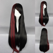 Women's Wig Cosplay Wig (Black with Red Strands Straight 75 cm