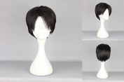 Women's Wig Cosplay Wig Attack on Titan Levi/Rivaille 28 cm Black/Brown