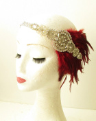 Silver Burgundy Maroon Red Feather Headband 1920s Flapper Headpiece Vintage 1153 *EXCLUSIVELY SOLD BY STARCROSSED BEAUTY*