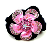 Elegant rhinestones flower hair scrunchie hair elastic hair clip for Children and Adults Available in a Range of Colours