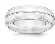 Sterling Silver 7mm Plain Grooved Classic Round Dome Wedding Band