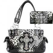 Western Cross Leopard Handbag Rhinestone Pocket Purse With Matching Wallet