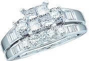 10K White Gold .53ct Diamond Ladies Bridal Wedding Ring set. Centre Setting is 4 Invisible Set Princess Cut stones matching Wedding Band Size - 7