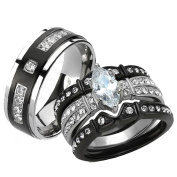 Her & His 4pc Black Stainless Steel & Titanium Wedding Engagement Ring Band Set