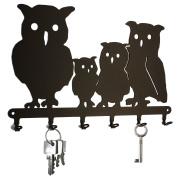Owl - Key Holder, Hooks, Hanger, Metal, Black