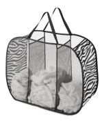 Whitmor 3 Compartment Pop-Up and Fold Laundry Mesh Bag, Zebra