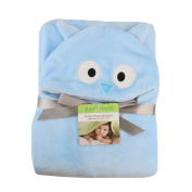 AiSi Baby Cartoon Stereo Hooded Bath Towel Newborn Wrap Swaddle Infant Flannel Hold Blanket Kid Cloak Blue