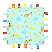 Blue with Giraffe, Elephant and Chick Tag, Taggy Blanket - Plain Blue Textured Underside
