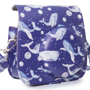 [Fujifilm Instax Mini 8 Case] - CAIUL Groovy Whales Pattern PU Leather Case Bag for Instax Mini 8/8+ Camera