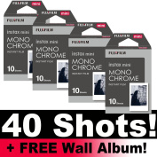 Fujifilm Instax Monochrome Film Bundle Pack (40 Shots) + FREE Wall Album!