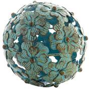 Antique Blue Metal Flower Decorative Sphere