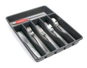 Rubbermaid No-Slip Silverware Tray Organiser, Large, Black with Grey