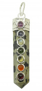 Harmonise Dalmatian Stone 7 Chakra Pencil Pendant Wand Spiritual Balancing Reiki Healing Crystal