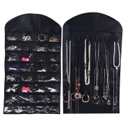 Ezigoo Jewellery Hanging Organiser Large Double-Sided Black - Ring Holder, Jewellery Cabinet and Earring Holder All In One! HJO-B02