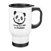 Travel Mug with Handle Unique Never Say No To Panda Travel Mugs for Men Coffee Cup for Mom Dad Friends Christmas Presents