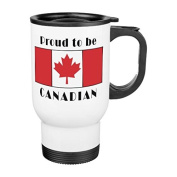 Coffee Travel Mug for Women Funny Proud To Be Canadian Travel Mug with Handle Stainless Steel 410ml Cup Gifts for Men