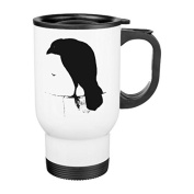 Travel Mug with Handle Unique Raven Silhouette Vintage Goth Ravens Crows Travel Mugs for Men Coffee Cup for Mom Dad Friends Christmas Presents