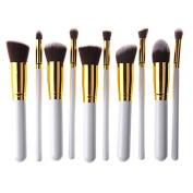 NatureBeauty 10 Pcs Premium Synthetic Kabuki Makeup Brushes Sets Foundation Eyeshadow Blush Concealer Contour Powder Cosmetic Brush Kit