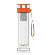 bonVIVO® VitaliTEA Insulated Glass Travel Mug with Stainless Steel Tea Infuser, 0.45 litre