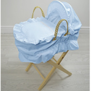 Broderie Anglaise Dolls Moses Basket Bows Blue