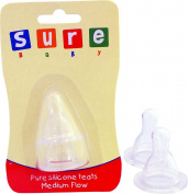 Sure Beauty Baby Feeding 2x First Step Silicone Teat Medium Pack Of 6