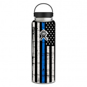 Skin Decal Vinyl Wrap for Hydro Flask 1180ml Wide Mouth Skins Stickers Cover / Thin Blue Line Blue Lives Matter Subdued Distressed American Flag U.S. Police