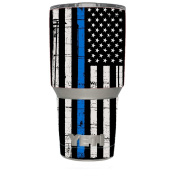 Skin Decal Vinyl Wrap for Yeti 890ml Rambler Tumbler stickers skins cover / Thin Blue Line Blue Lives Matter Subdued Distressed American Flag U.S. Police