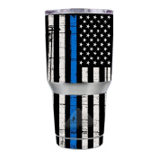 Skin Decal Vinyl Wrap for Ozark Trail 890ml Tumbler Skins Stickers Cover / Thin Blue Line Blue Lives Matter Subdued Distressed American Flag U.S. Police