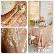 TRLYC 130cm *220cm Rose Gold Sequin Table Cloth For Wedding