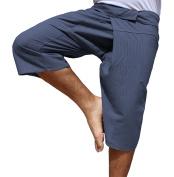 RaanPahMuang Brand Thin Striped Cotton Thai Fisherman Capri Wrap Pants