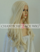 Chantiche Women's Natural Looking White Blonde Lace Front Wigs for Cosplay Long Wavy Wig uk Synthetic Hair High Quality Heat Resistant Fibre 60cm