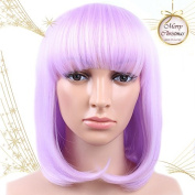 Golden Rule Short Women's Bob Style Straight (Purple) Heat Resistant Fancy Dress Cosplay Full Hair Wigs