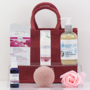 Natures Hampers Luxury Rose Face Gift Hamper for Dry or Mature Skin - Luxury Beauty Skincare Gift Bag Set - Rose Cleanser - Rose Toner - Birthday or Retirement Beauty Box Sets - Beauty Basket for Her - Christmas Gifts - Xmas Present
