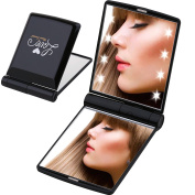 Miss Sweet Lighted Compact Mirror for Purse Pocket mirror with Magnification,True image & 2X magnification