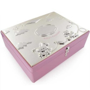 Silver Plated Baby Girls Large Keepsakes Box in Pink