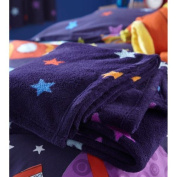 Outer Space Blue Stars Fleece Blanket Throw by Chic at Home