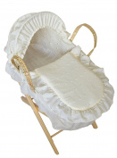 Broderie Anglaise Dolls Moses Basket With Stand Cream