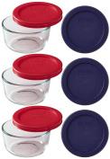 Pyrex 9-Piece Glass Food Storage Set with 2 Colour Lids