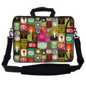 Meffort Inc 17 44cm Neoprene Laptop Bag Sleeve with Extra Side Pocket, Soft Carrying Handle & Removable Shoulder Strap for 41cm - 44cm Size Notebook Computer - Colourful Symbols