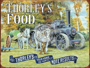 Thorley's Food for Your Horse. Horses with steam engine on the farm. White shire pulling, plough and tank. Small Metal/Steel Wall Sign
