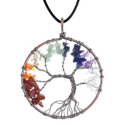 JOVIVI Crystal Quartz Tree of Life Pendant Necklace DIY - 7 Chakras Gemstone Charms