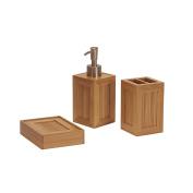 Household Essentials 2440-1 3 Piece Essential Bamboo Bathroom Vanity Accessory Set